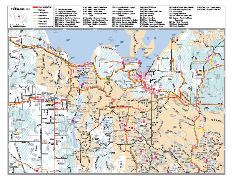 Snowmobile orv assoc sorva of alger county view map as pdf publicscrutiny Image collections